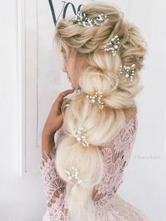 Ulyana Aster Long Wedding Hairstyles & Wedding Updos / http://www.deerpearlflowers.com/romantic-bridal-wedding-hairstyles/5/