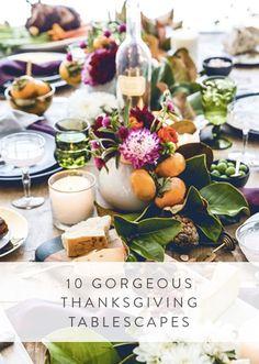 8 Gorgeous Thanksgiving Tablescapes via @PureWow