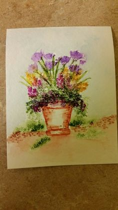 My Art Impressions Watercolor Stamping - Flower Pot by Letty Lucero.