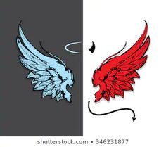 Hand drawn angel and devil wings Angel Wings Drawing, Angel Wings Art, Demon Wings, Ange Demon, Lucifer Wings, Angel Devil Tattoo, Angel And Devil, Best Photo Background, Black Background Images