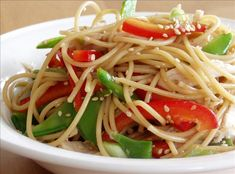 Chinese Chicken Noodle Salad from Food.com:   If you love pasta salads that contain crisp veggies you'll love this. The dressing is really delicious. The flavors get better after 2 or 3 days in the fridge. I got this great recipe from a friend.