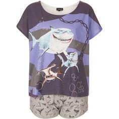 TOPSHOP Nemo Shark Print Pyjama Set (11.320 HUF) ❤ liked on Polyvore featuring intimates, sleepwear, pajamas, pijamas, pyjamas, tops, blue, cotton pjs, cotton pajama set and blue pajamas