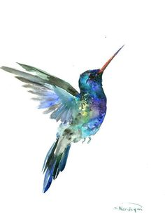 Hummingbird painting, 14 x 11in,bright color flowers, hummingbird wall art…