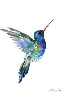 Hummingbird painting, 14 x 11in,bright color flowers, hummingbird wall art…