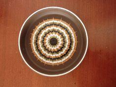 Vintage Retro Hornsea Vitramic Muramic Pin Tray Bowl OrangeGreen Pattern