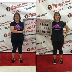 I just completed my first 6 week 20 lb challenge and I couldn't be happier with the results! I've lost 23.4 lbs and 2.5% body fat. This hasn't been an easy 6 weeks with working out with a sprained back, but the trainers at the Transformation Center really worked with me to make sure I could continue to work out without further injury! I want to thank everyone who's encouraged me along the way and let you know that I'm not finished yet!  - Tara