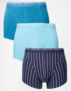 Unterhose von Björn Borg Stretch-Baumwolle Logoschriftzug am Bund figurbetontes Design Maschinenwäsche 95% Baumwolle, 5% Elastan Dreierset