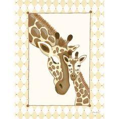 Oopsy Daisy - Giraffe Family - Cream Canvas Wall Art 30x40, Sherri Blum
