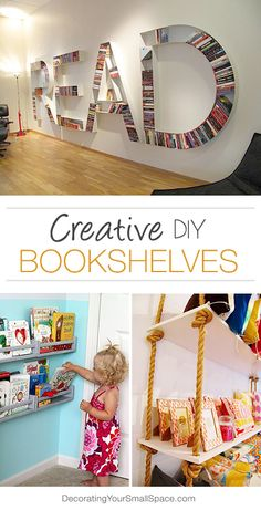 Awesome ideas for bookshelves.
