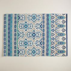 2'x3' Blue Floral Reversible Indoor-Outdoor Rug | World Market FOR THE KITCHEN SINK