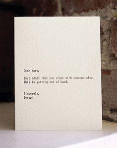 """From the """"Dear blank, Please blank"""" series."""