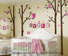 butterflies and owls nursery  | Birch Trees Nursery with Owls for baby room, owl decals in forest