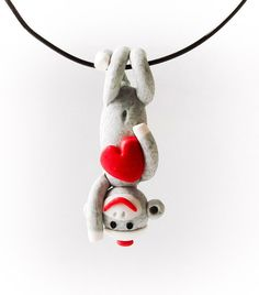 Valentine's Day Sock Monkey Pendant with Heart MADE by MagicByLeah, $38.00