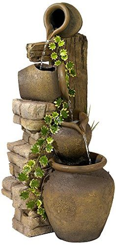 Outdoor Fountains - Three Rustic Jugs Cascading 33 High Fountain >>> Read more at the image link. (This is an Amazon affiliate link)