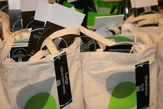 Swag bags at the Spokane Restaurant Week kick-off event for the participating restaurants to take home.
