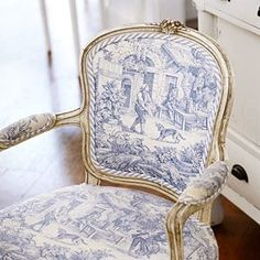 Toile print on seat and inner back....stripe print back...love the trim...