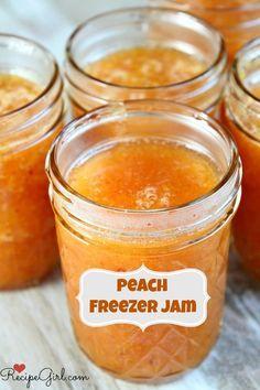 How to Make Peach Freezer Jam (easy recipe- no canning supplies needed) - from RecipeGirl.com