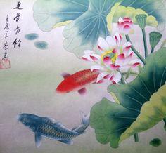 Oriental Asian Art Chinese Painting Feng Shui Koi Fish Carp Lotus Flowers 18x18 | eBay