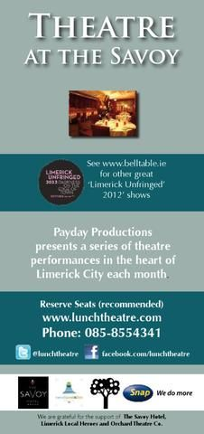 Theatre at the Savoy-October Limerick City, Reserved Seating, Local Hero, Theatre, October, Theatres, Theater