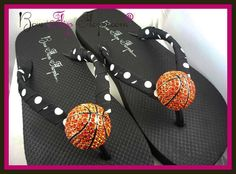 Basketball Flip Flops With Rhinestone Bling by BowFlipFlops Basketball Stuff, Craft Fairs, Softball, Flip Flops, Bling, Sandals, Trending Outfits, Unique Jewelry, Handmade Gifts