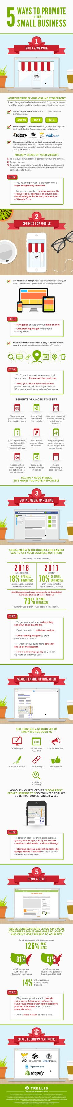 5 Ways to Promote Your Small Business [Infographic] 5 simple yet powerful online marketing tips for promoting your small business - infographic Inbound Marketing, Marketing Digital, Affiliate Marketing, Marketing En Internet, Marketing And Advertising, Online Marketing, Advertising Ideas, Social Business, Small Business Marketing