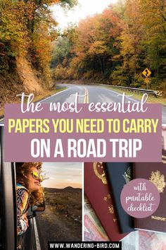 The Most Essential Papers You Need to Carry on a Road Trip. Travel documents checklist with FREE printable pdf! Worried you'll forget important travel documents- especially if travelling abroad? What do you even NEED to bring? This Travel Document checklist tells all- with FREE printable PDF checklist for you to keep and use. travel tips | travel documents list | free printable | travel packing tips travel packing | Road Trip Essentials Road Trip Packing List, Road Trip Essentials, Packing Tips For Travel, Drivers Permit, Try To Remember, Travel Abroad, Carry On, Free Printable
