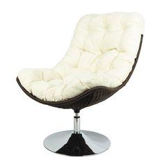 Polyethylene wicker armchair in ecru Woody Woody, Wicker Armchair, Barcelona Chair, Tufting Buttons, Decoration, Master Bedroom, Cushions, Furniture, Home Decor