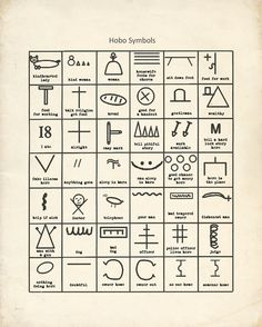 "Vintage chart of hobo symbols. If I got this and put it up in my office, then I'd be ready when retirement comes. Etsy seller ""HighStreetVintage"" $14.00"