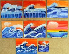 Making Waves I'm so lucky to have a child because she asks me the best questions and demands answers. This weeks question was – How do you paint waves? And thus started my lesson plan… Kids Art Class, Art For Kids, Weather Art, Hokusai, Dragons, 4th Grade Art, Wave Art, Thinking Day, Middle School Art