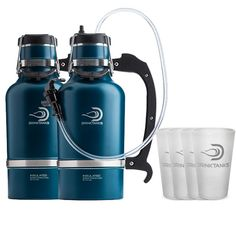 DrinkTanks® Party Pack is a combo pack of 2 - 64oz Stainless Steel Growlers in your choice of color, 1 Keg Cap™ Kit, & 4 DrinkTanks logo Silipint™ pint glasses.  Perfect for BBQs, camping, tailgating, hiking, hitting the beach, and a multitude of other things you can share with friends.  Party on!