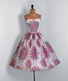 1950s chiffon floral print party dress with sequins