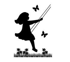SILHOUETTE CHILDREN MURAL Decal Vintage Swinging Wall Art Stickers Child Room Baby Girl Butterfly Nursery Kids Floral Cameo Decor #decampstudios