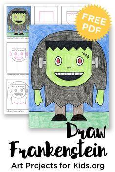 Frankenstein Drawing · Art Projects for Kids Art Videos For Kids, Art Lessons For Kids, Projects For Kids, Art For Kids, Art Projects, Fall Drawings, Halloween Drawings, Halloween Art, Halloween Activities