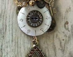 Upcycled and Re-Imagined Steampunk Jewelry using vintage jewelry, gems and watches