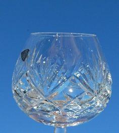 Set of 2 Waterford Crystal Fan Criss Cross Cut Brandy Snifter Glasses Stemware #Waterford