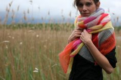 Knitted huge cloth with stripes . foulard . kid by GOETTERMILCH