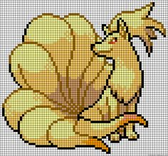 Hama Beads Patterns, Beading Patterns, Beaded Cross Stitch, Cross Stitch Embroidery, Cross Stitch Designs, Cross Stitch Patterns, Ninetales Pokemon, Pokemon Perler Beads, Perler Bead Pokemon Patterns