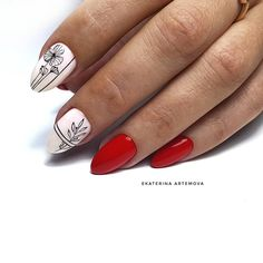 Nail art Christmas - the festive spirit on the nails. Over 70 creative ideas and tutorials - My Nails Nail Art Designs, Ombre Nail Designs, Nail Art Flowers Designs, Red Manicure, Red Nails, Manicure Ideas, Trendy Nail Art, Easy Nail Art, Super Nails