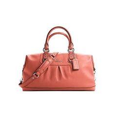 Coach Leather Ashley Satchel Convertiable Bag Purse Tote 15447 Geranium