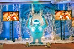 Our friendly Abominable Snowman, Bumble, is a great host for your holiday party! discounted price of $500.  There would be an additional $250 fee for delivery, set-up, and pick-up.  Bumble is 8 feet tall and comes in 3 separate pieces that need to be assembled on site. (855) 867-8428