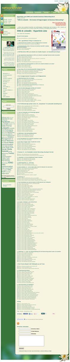 """#Linkliste zum #Buch - """"Die besten Erfolgsstrategien im Business-Networking mit #XING und #LinkedIN"""" erschienen bei @DATA BECKER - Screenshot der  Website 'http://www.networkfinder.cc/xing-linkedin/hyperlinks-zum-xing-und-linkedin-business-networking-buch/' mit dem #Pinterest Tool http://bit.ly/Snapito /cc. @Isabella Mader"""
