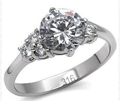 High Polished Stainless Steel Clear Prong Set CZ Engagement Ring Size 8  30.00