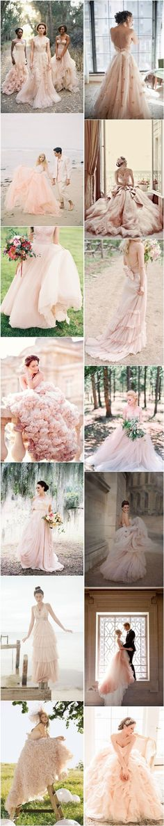 blush pink peach wedding dresses