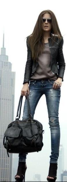 Black : black blazer, heels, bag with brown top