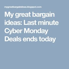 My great bargain ideas: Last minute Cyber Monday Deals ends today