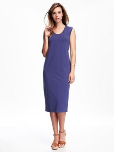 Knit Midi Shift Dress for Women