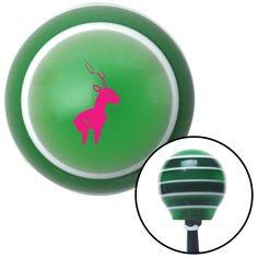 Pink Deer Green Stripe Shift Knob with M16 x 15 Insert