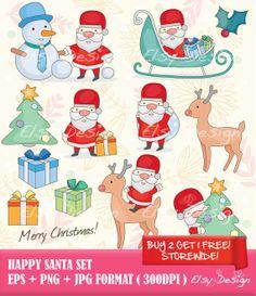 Happy Santa Clip art by ElsyDesign on Etsy, $5.00