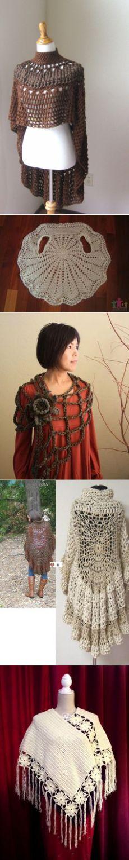 (2215) BROWN PONCHO BOHO Chic Crochet Bohemian Shawl Capelet Turtleneck // Knit Trendy // Chic Fashion // Boho Circle Vest Original Design