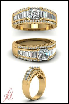 Princess Cut and Round Diamond & Tapered Baguette Side Stone 14k Yellow Gold Side Stone Engagement Ring In Floating Prong Setting || Palatial Ring